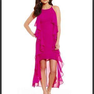 Belle Badgley Mischka Navelle Hi-Low Ruffle Dress
